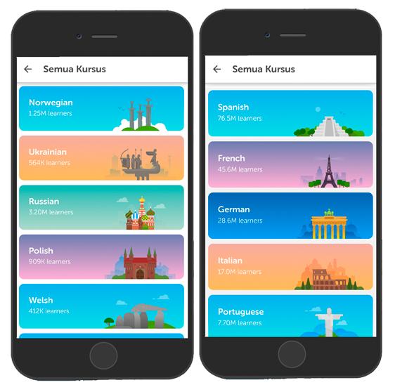 Kursus Bahasa Asing di Aplikasi Duolingo