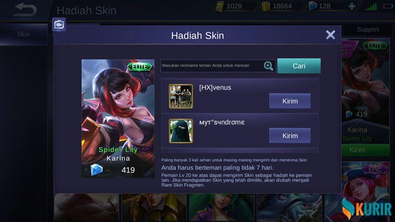 Pilih Teman Yang Akan Menerima Skin